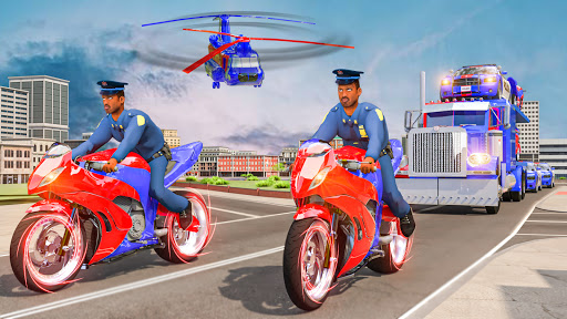 US Police Multi Level Car Transporter Truck 2021 apktram screenshots 4
