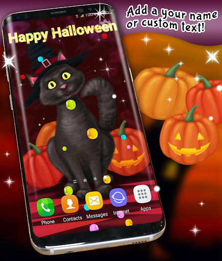 halloween wallpaper 🎃 black cat live wallpapers screenshot 1