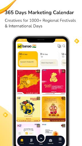 AdBanao -Festival Poster, Banner & Video Maker App android2mod screenshots 1