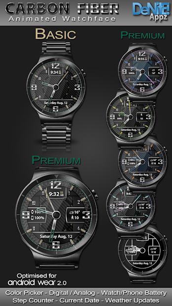 Carbon Fiber HD Watch Face Widget & Live Wallpaper Android App Screenshot