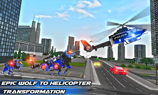 Air Force Transform Robot Cop Wolf Helicopter Game Screenshot 2
