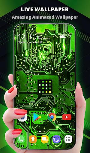 Green Light Cyber Circuit Wallpaper and Keyboard  screenshots 1