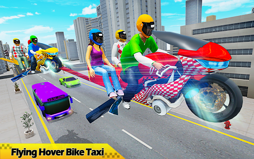Flying Hover Bike Taxi Driver City Passenger Sim 1.6 Screenshots 9