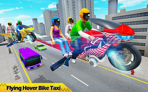 Flying Hover Bike Taxi Driver City Passenger Sim screenshots 14
