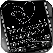 Black Sketch Heart Keyboard Background