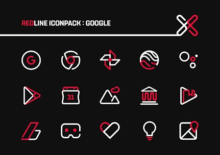 RedLine Icon Pack Pro Apk: LineX 2.7 (Patched) 2