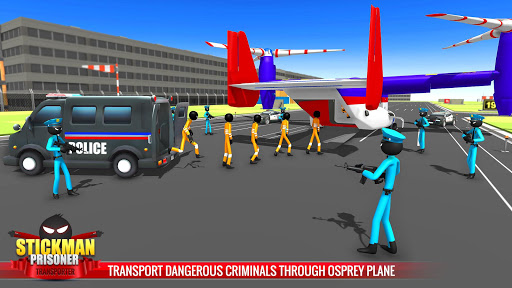 US Police Stickman Criminal Plane Transporter Game 4.7 screenshots 9