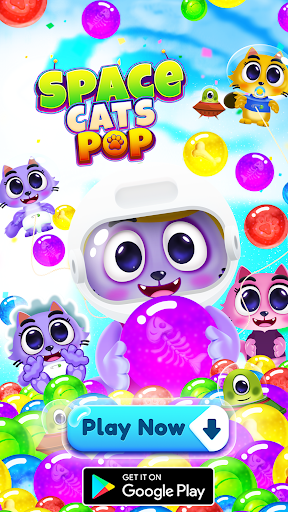 Space Cats Pop - Kitty Bubble Pop Games apkmr screenshots 8