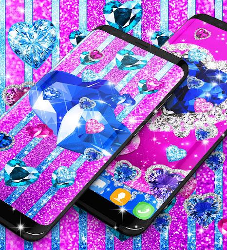 Blue hearts crystal diamonds live wallpaper android2mod screenshots 4