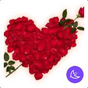 Red romantic love flower -APUS Launcher theme