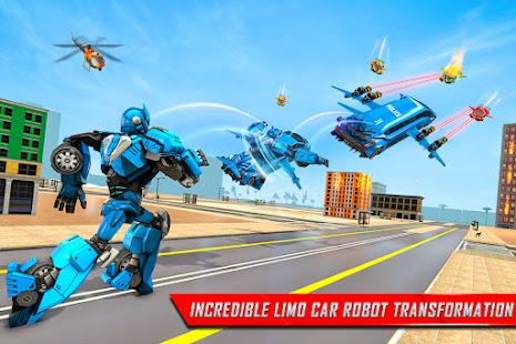 Flying Limo Robot Car Transform: Police Robot Game 1.0.32 Screenshots 5