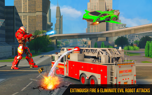 Flying Firefighter Truck Transform Robot Games 26 screenshots 4