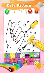 Glitter Nail Drawing Book and Coloring Game