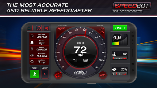 Speedbot. Free GPS/OBD2 Speedometer 2.7 Screenshots 1