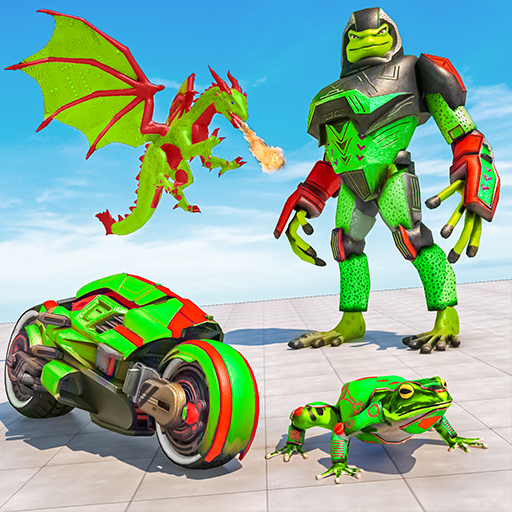 Dragon Robot Bike Robot Game: Frog Gangster Wars