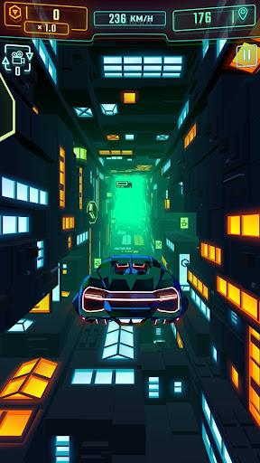 Neon Flytron: Cyberpunk Racer modiapk screenshots 1