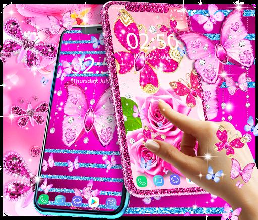Diamond butterfly pink live wallpaper apktram screenshots 3
