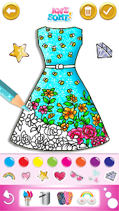 Glitter dress coloring and drawing book for Kids 3