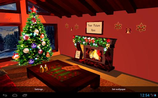 3D Christmas Fireplace HD Live Wallpaper screenshots 3