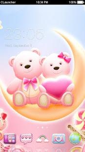 Cute Bear love  honey with Pink hearts DIY Theme 3.9.10 Screenshots 1