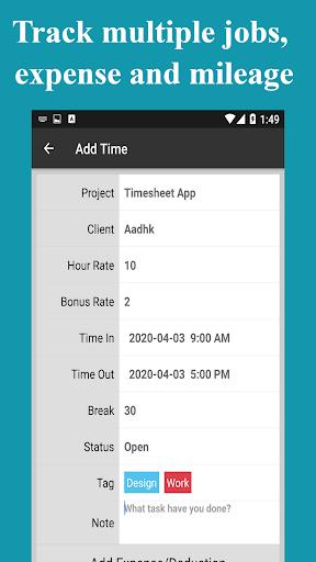 Timesheet - Time Card - Work Hours - Work Log apktram screenshots 7