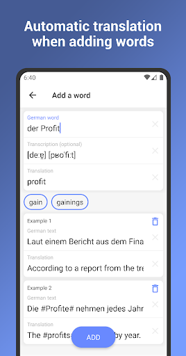 German Words. Flash Cards. Vocabulary Builder android2mod screenshots 5