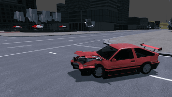 Crash test simulator, city car driving, drift