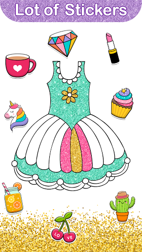 Glitter Dress Coloring Pages for Girls  Screenshots 3