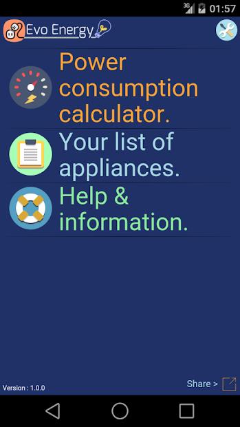 Captura 2 de EvoEnergy - Electricity Cost Calculator Free para android