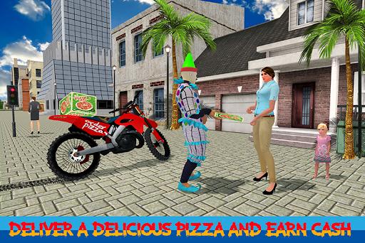 Scary Clown Boy Pizza Bike Delivery screenshots 1