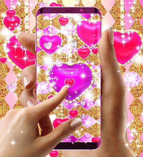 Golden luxury diamond hearts live wallpaper apktram screenshots 12