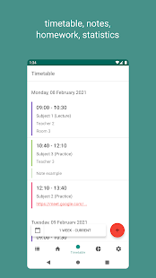 Timetable for students