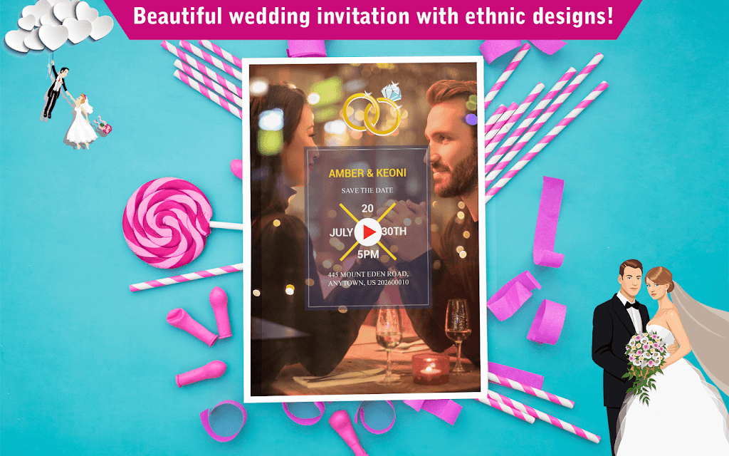 Wedding Card Design & Photo Video Maker With Music  poster 12