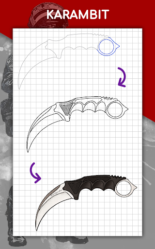 How to draw weapons step by step, drawing lessons  screenshots 22