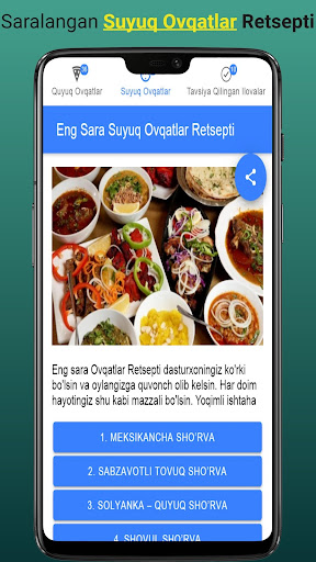 Ovqatlar Retsepti - Eng Saralangan Retseptlar  screenshots 3