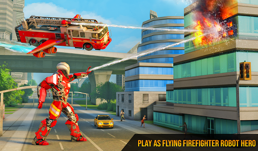 Flying Firefighter Truck Transform Robot Games 26 screenshots 11