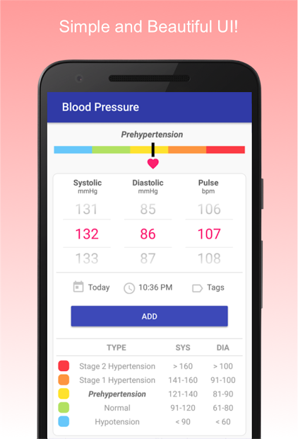 Blood Pressure Diary Android App Screenshot