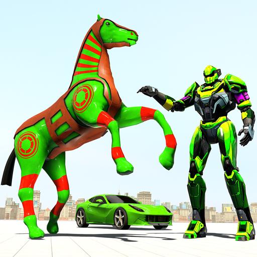 Police Horse Robot Game: Grand War Robot Car Games