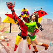 Flying Ladybug Robot Rescue Game