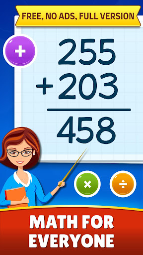 Math Games - Addition, Subtraction, Multiplication apkslow screenshots 1