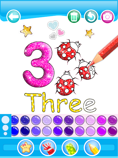 Glitter Number and letters coloring Book for kids 3.8 Screenshots 15