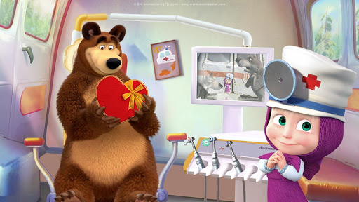 Masha and the Bear: Free Dentist Games for Kids android2mod screenshots 2