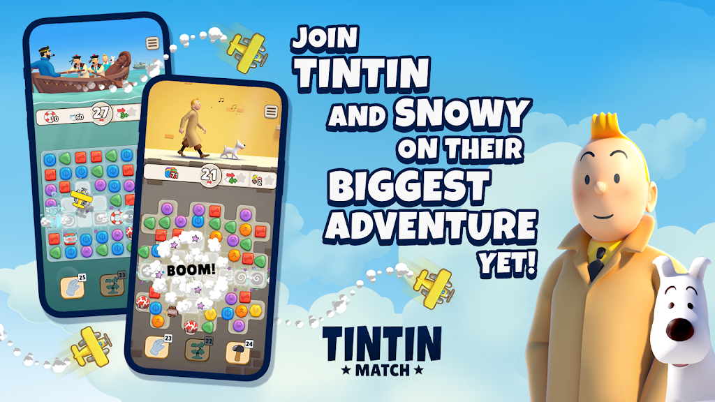 Tintin Match: Solve puzzles & mysteries together! poster 0
