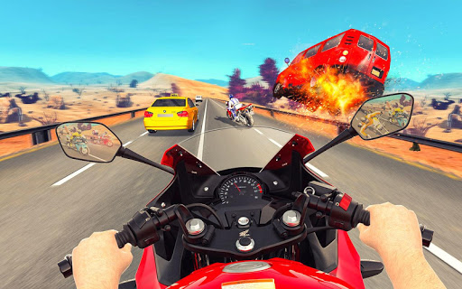 Bike Attack Race : Highway Tricky Stunt Rider android2mod screenshots 2