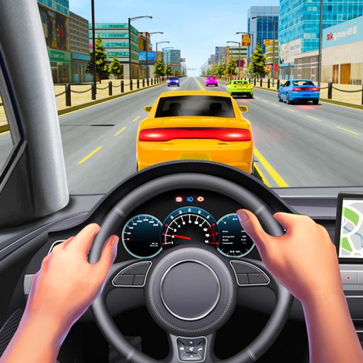 Mengemudi mobil nyata dalam mobil pengemudi