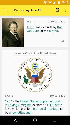 on this day. historical calendar. screenshot 2