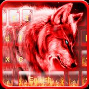 Neon Red Wolf Keyboard Theme