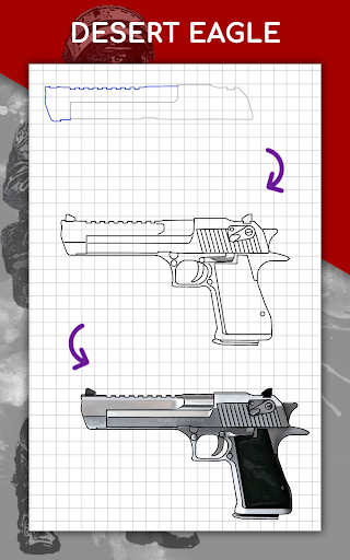 How to draw weapons step by step, drawing lessons  screenshots 15