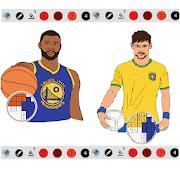 Pixel Draw Basketball Football Players