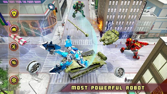US-Polizei White Tiger Robot Car Transform Spiel Screenshot